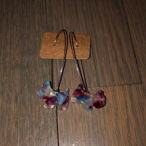 Sterling silver tear drop hoop earrings